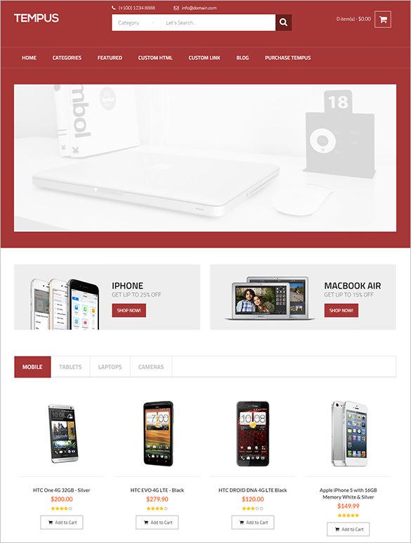 tempus mobile store opencart theme