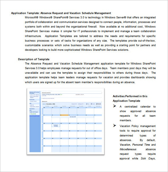 absence request and vacation schedule microsoft word