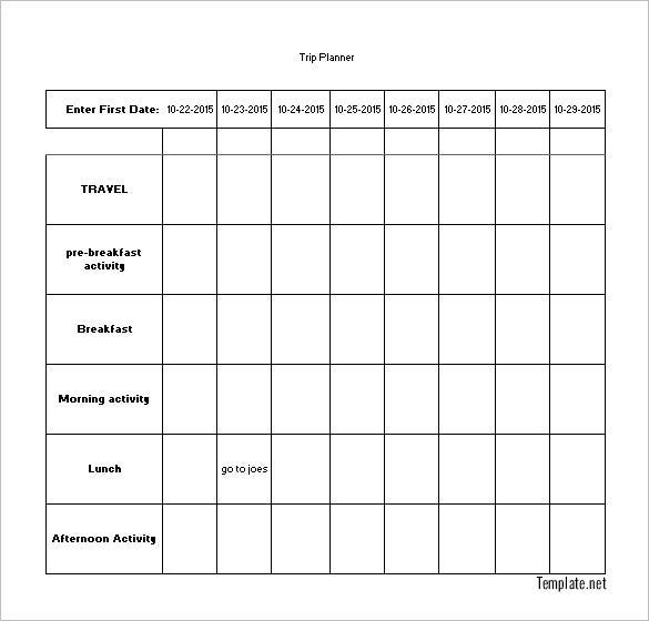 vacation trip planning schedule template