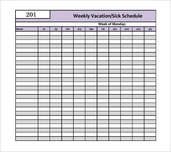 printable weekly vacation sick schedule template