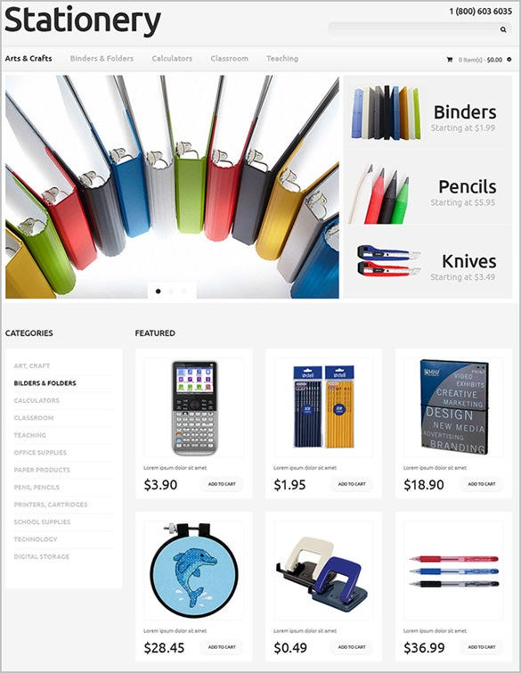pretty stationery business opencart theme