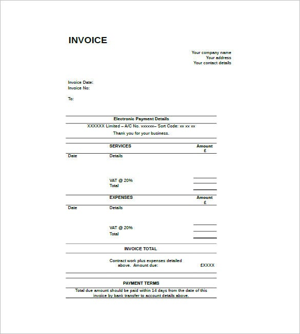 Contract Invoice Template 8 Free Word Excel PDF Format – Free Template for Invoice for Services Rendered