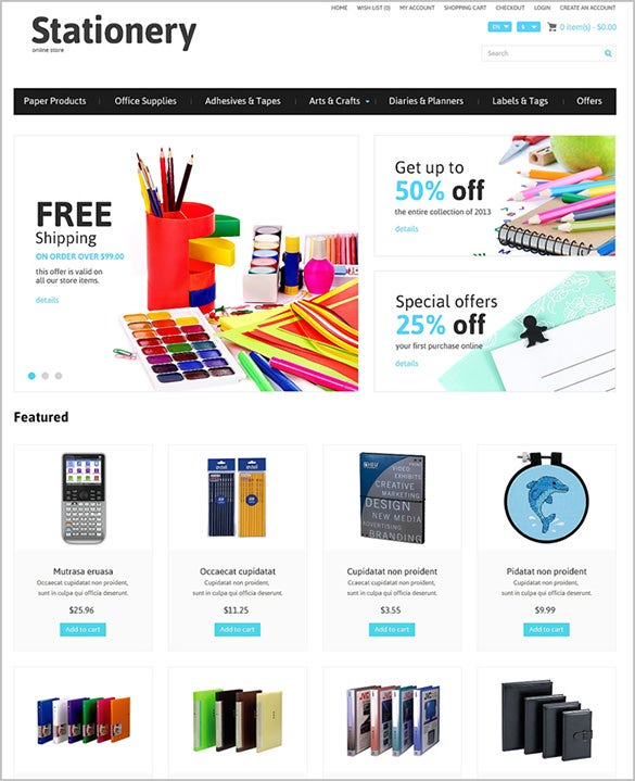 online stationery business service opencart theme