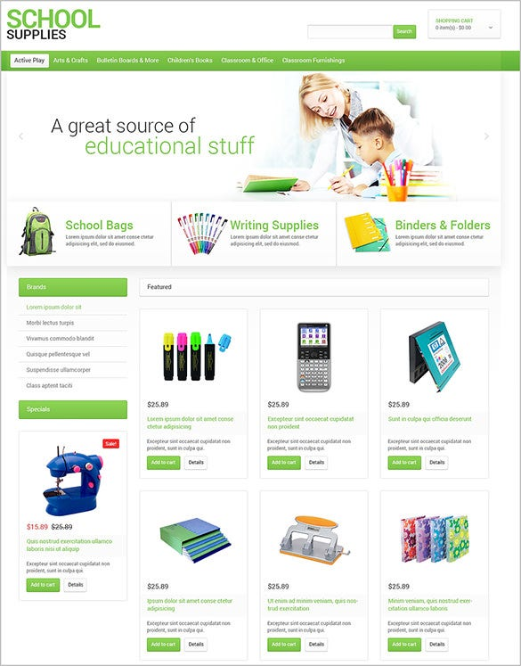 school business service opencart template