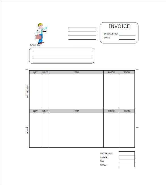Contract Invoice Template   Free Word Excel Pdf Format
