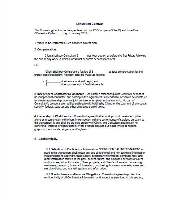 Work Contract Agreement Construction Contract Template