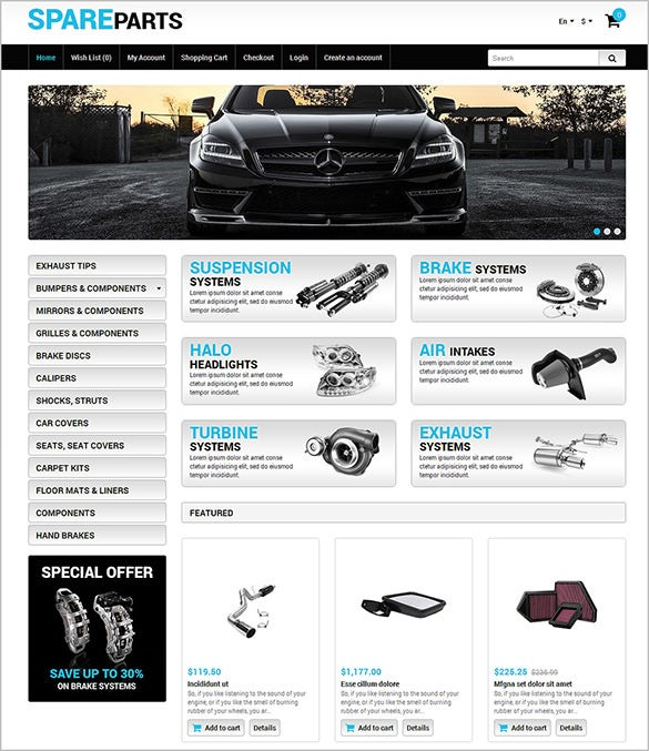 car parts website opencart theme
