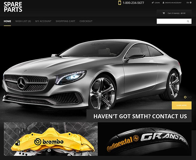 dark car website opencart template
