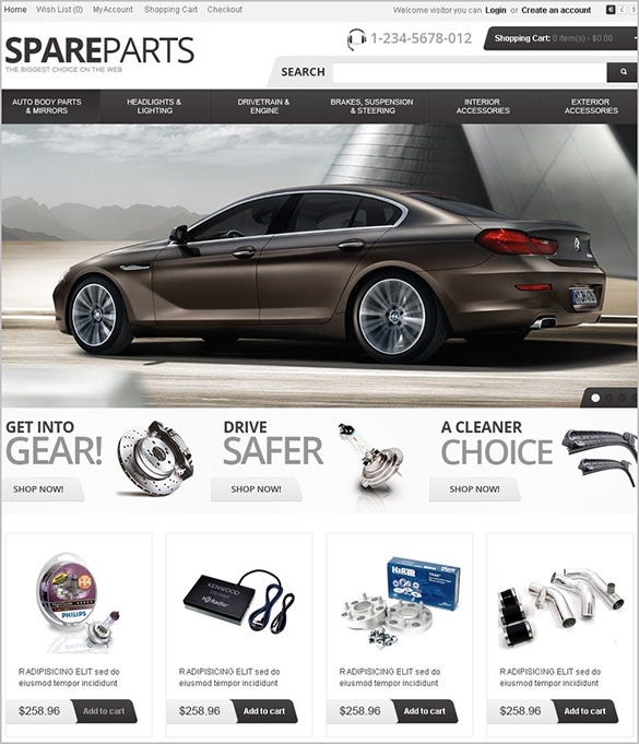 premium car spares website opencart theme