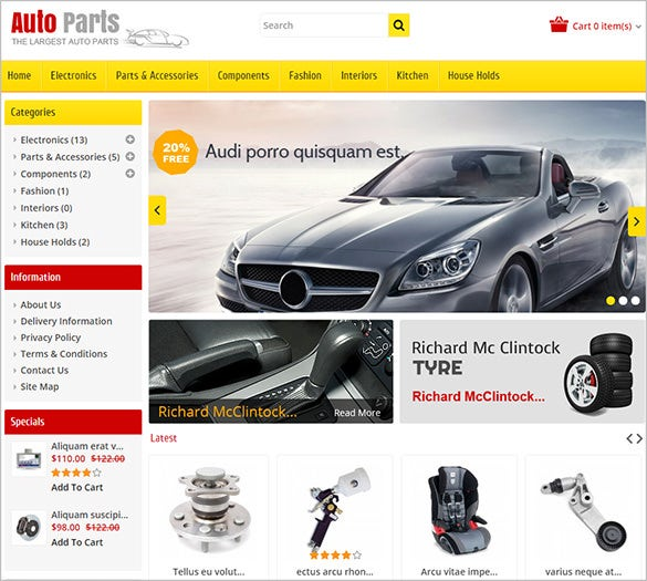 beautiful car parts website opencart theme