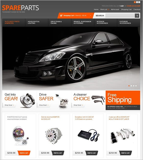 luxurious car spare website opencart template