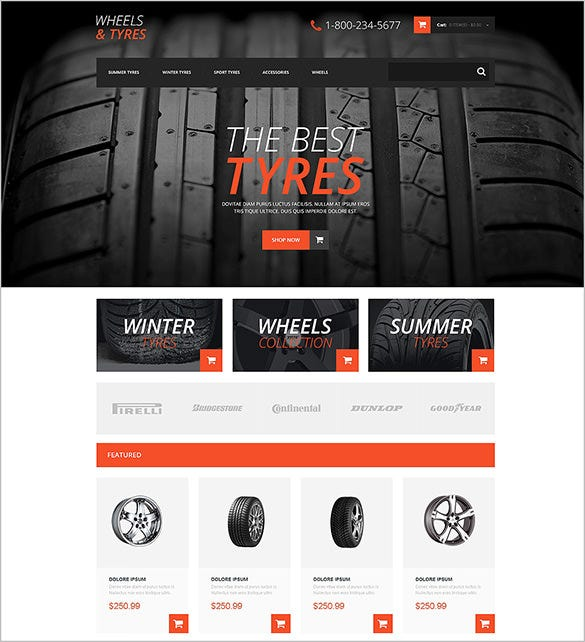 car tyres website opencart theme