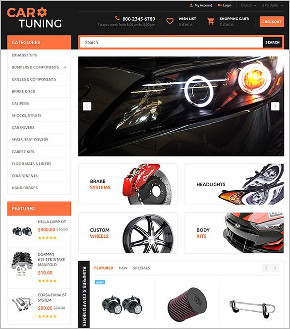 car tuning website opencart template