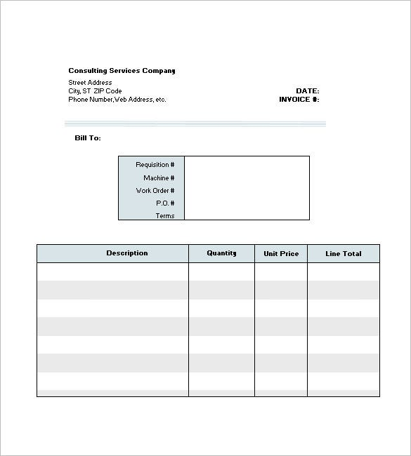 consultant invoice template excel for 2007 2010