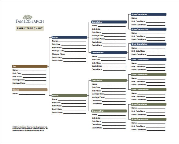 Family Tree Chart Template   Free Word Excel Pdf Format