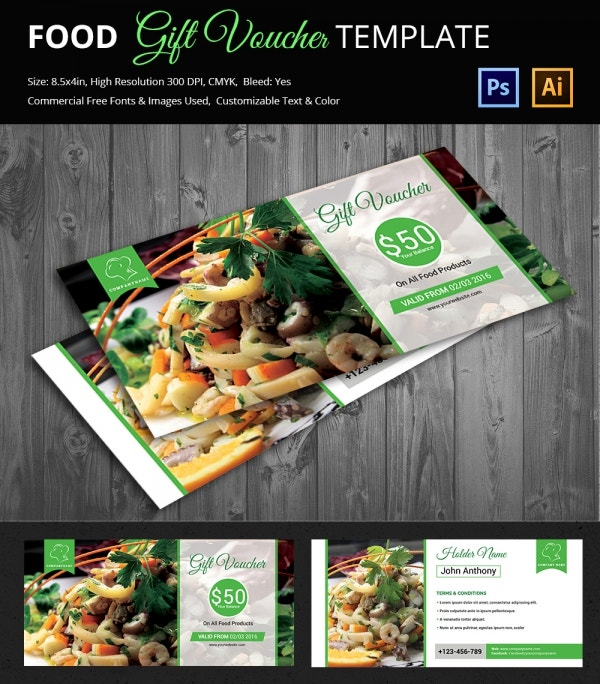 PSD and Ai Food Gift Voucher Template