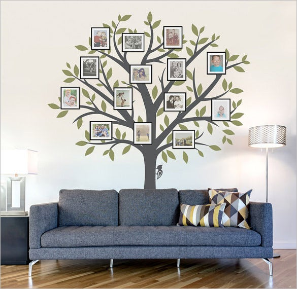 Photo family tree template 17 free word excel pdf - Arbre genealogique stickers ...