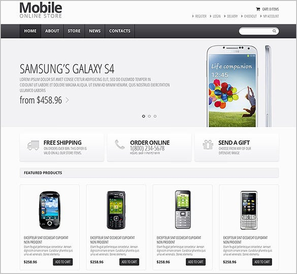 online mobile store oscommerce theme