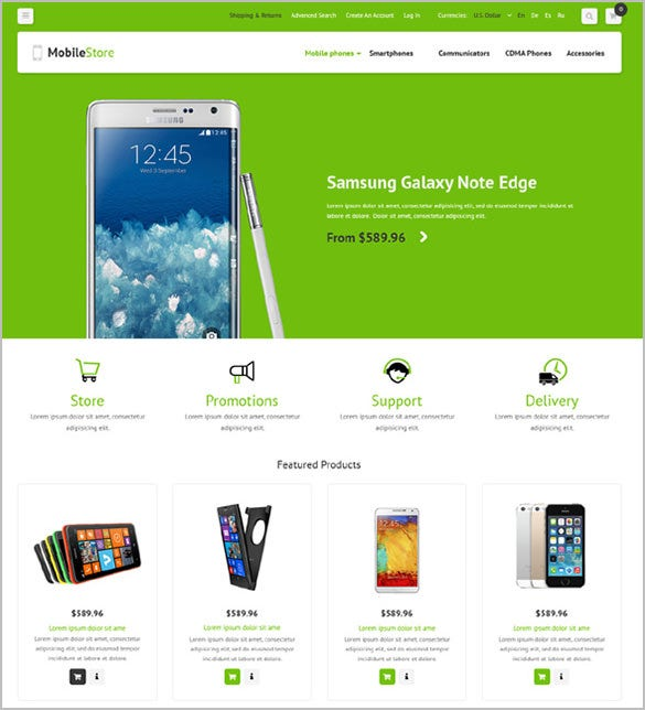 simple mobile store oscommerce template