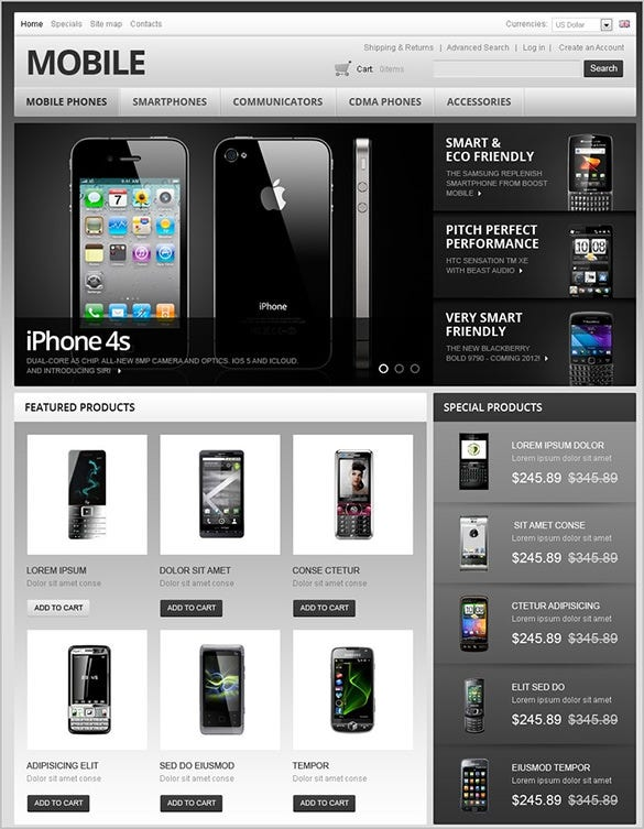 dazzling mobile store oscommerce theme