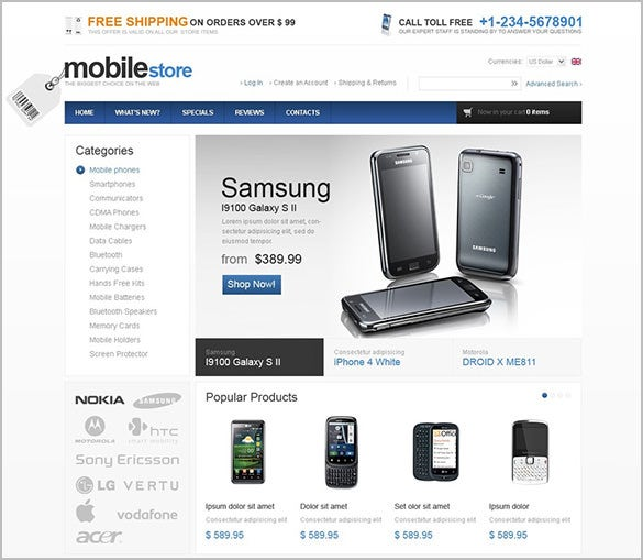 mobile online store oscommerce template