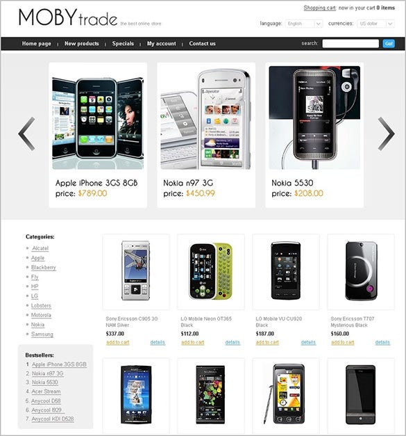 beautiful mobile store oscommerce template