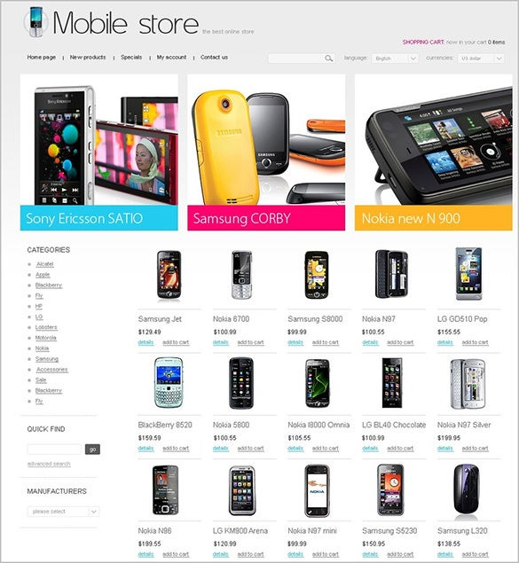 good looking mobile store oscommerce theme
