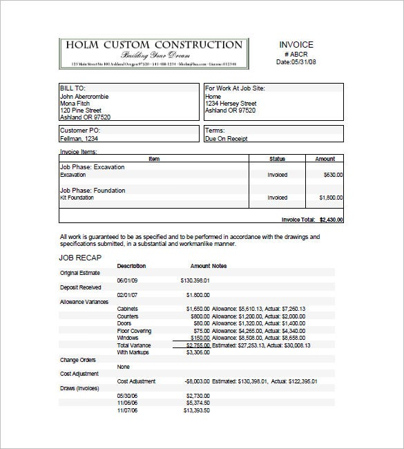 construction billing invoice template  Construction Invoice Templates – 15  Free Word, Excel, PDF Format ...