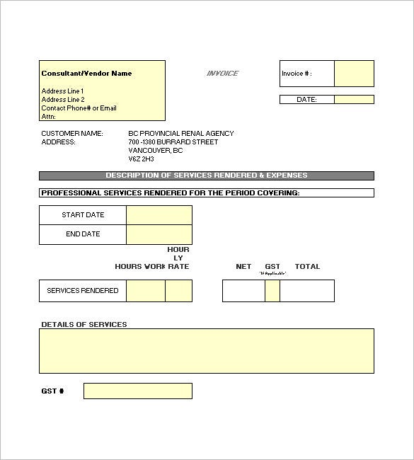 Construction Invoice Template 8 Free Word Excel PDF Format – Construction Invoice Template
