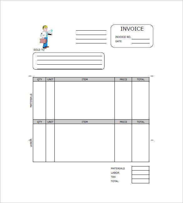free construction invoice template word  Construction Invoice Templates – 15  Free Word, Excel, PDF Format ...