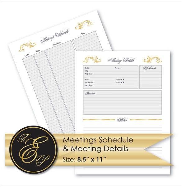 sample meetings schedule and meeting details printables download