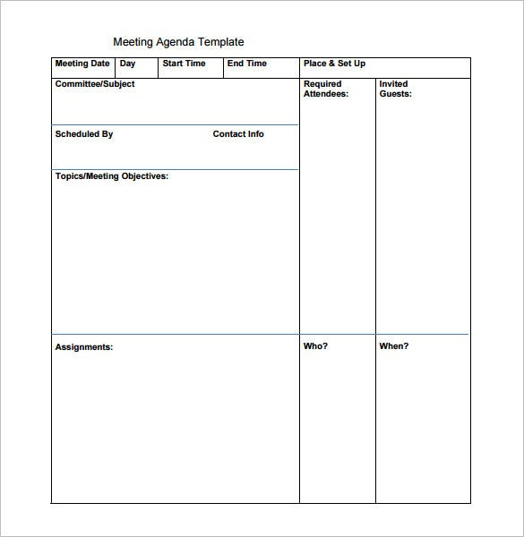 blank printable meeting agenda template free download
