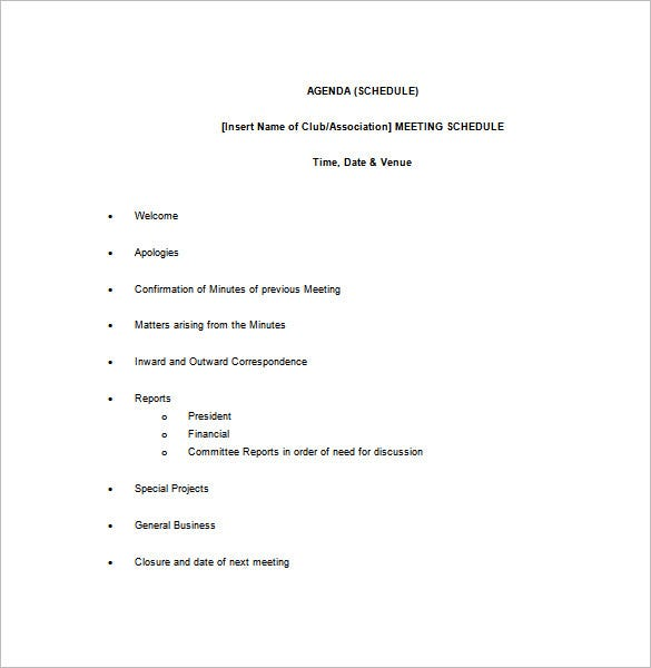 small club meeting schedule template download