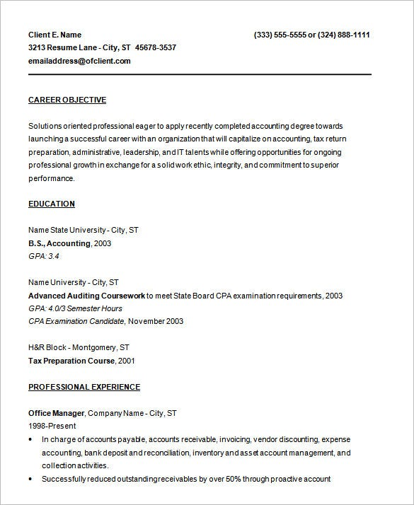 sample entry level job resume template doc