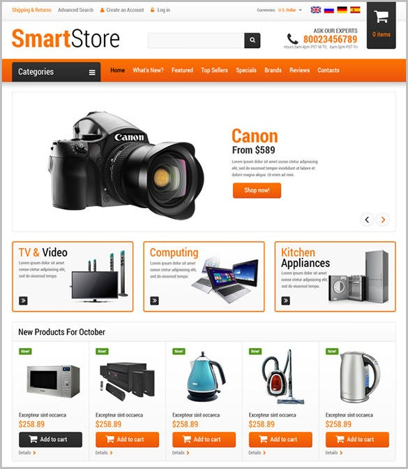 Home Store Website: 14+ Electronics Store OsCommerce Themes & Templates