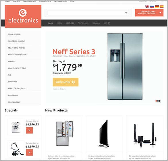 simple electronic store oscommerce template