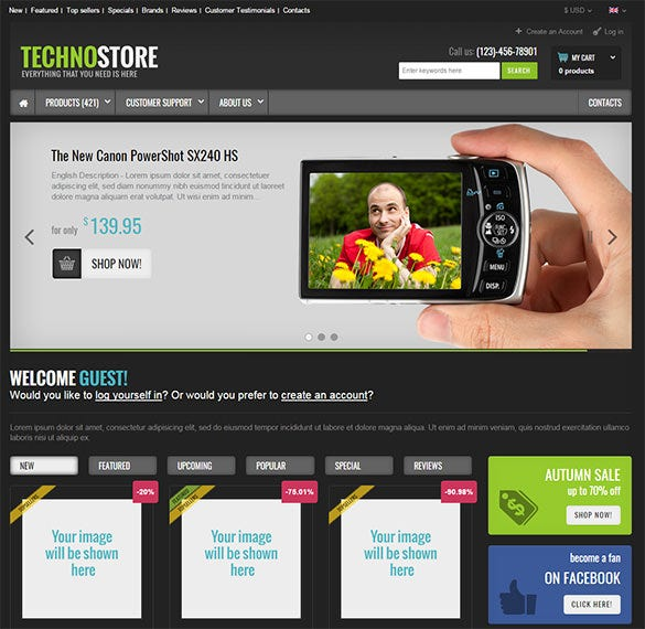 multi purpose electronic store oscommerce theme