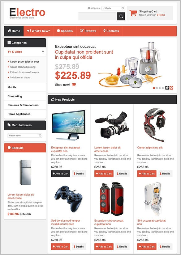 online electronic store oscommerce theme