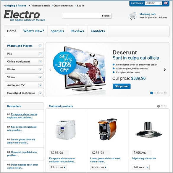 beautiful electronic store oscommerce template