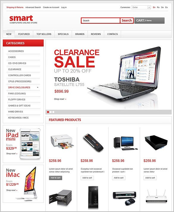pretty electronic store oscommerce theme
