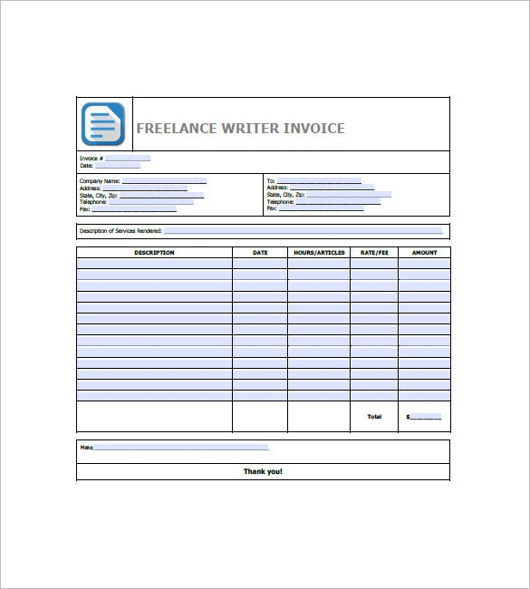 Freelancer Invoice Template Free Word Excel PDF Format - Writing invoice template