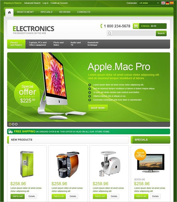 green background electronic store oscommerce template