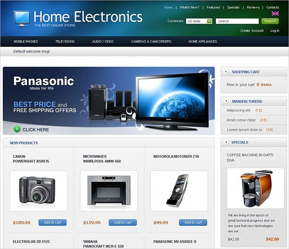online home electronic store oscommerce theme