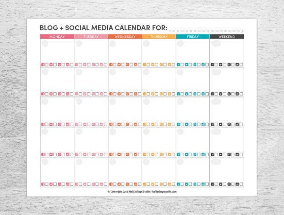 Social Media Schedule Template Free Sample Example Format - Monthly social media calendar template