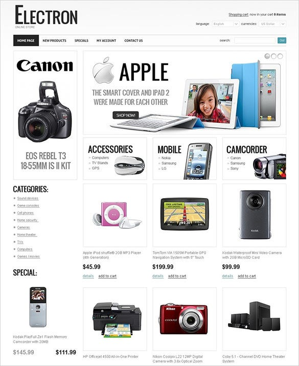 splendid electronic store oscommerce theme