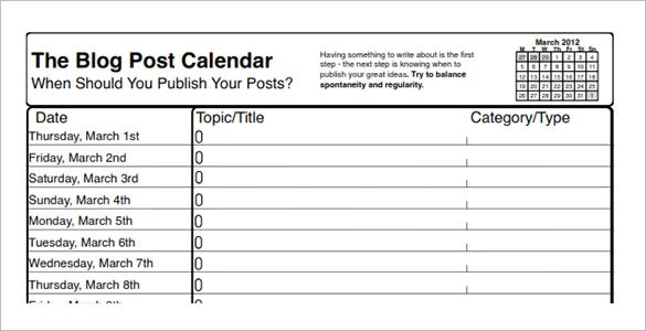 Social Media Schedule Template Free Sample Example Format - Blog post schedule template
