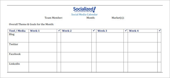 monthly social media calendar schedule template sample