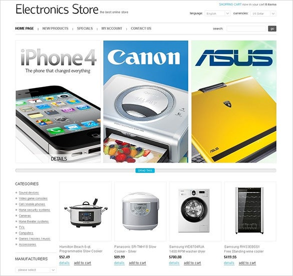 electronic store oscommerce theme
