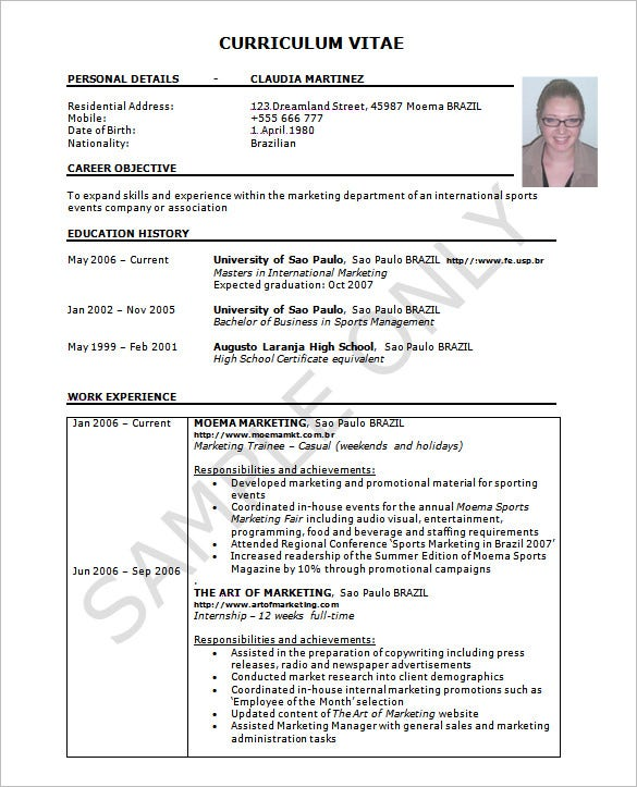 Photo Resume Templates Professional Cv Formats: 37+ Resume Template - Word, Excel, PDF, PSD