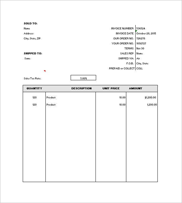 Nice Blank Format Generic Invoice Template Throughout Format For Invoice
